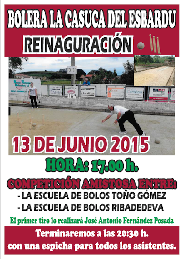 Cartel Bolera Junio 2015